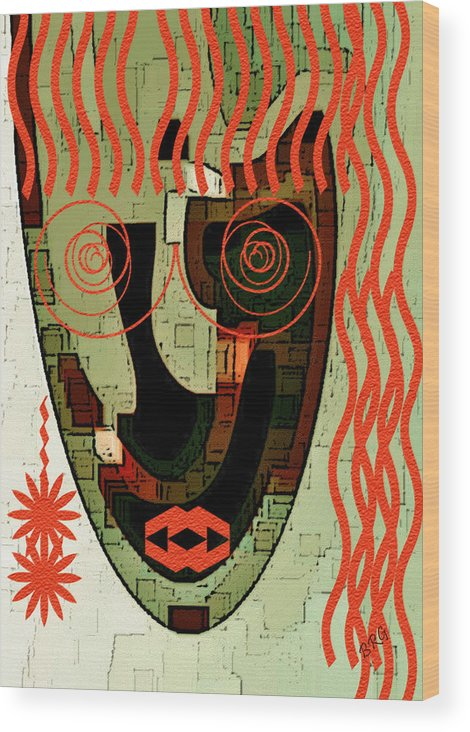 Abstract Face Wood Print featuring the digital art Earthy Woman by Ben and Raisa Gertsberg