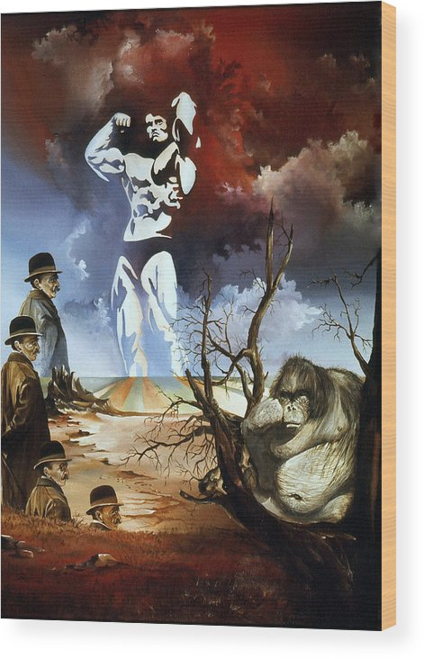 Surrealism Wood Print featuring the painting Evolution by Otto Rapp