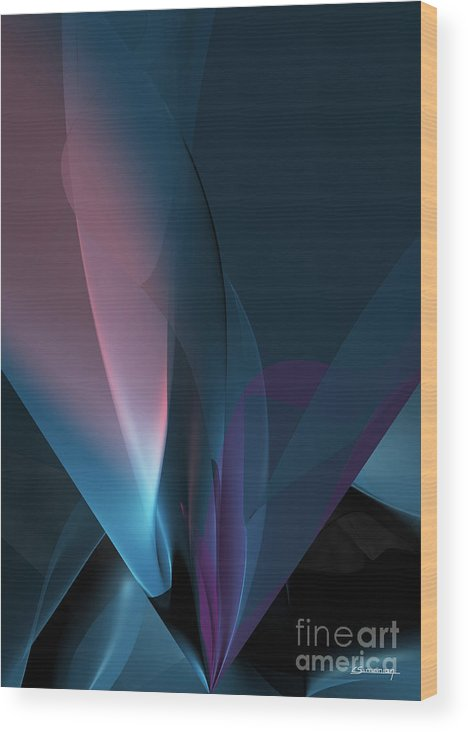 Abstract Wood Print featuring the painting Flower And Light by Christian Simonian