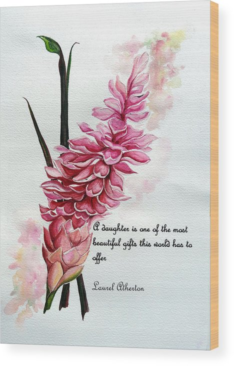 Tropical Lily Wood Print featuring the painting Ginger Lily Poem by Karin Dawn Kelshall- Best