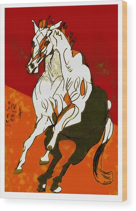 Horse Wood Print featuring the digital art H17 by Peter Szabo