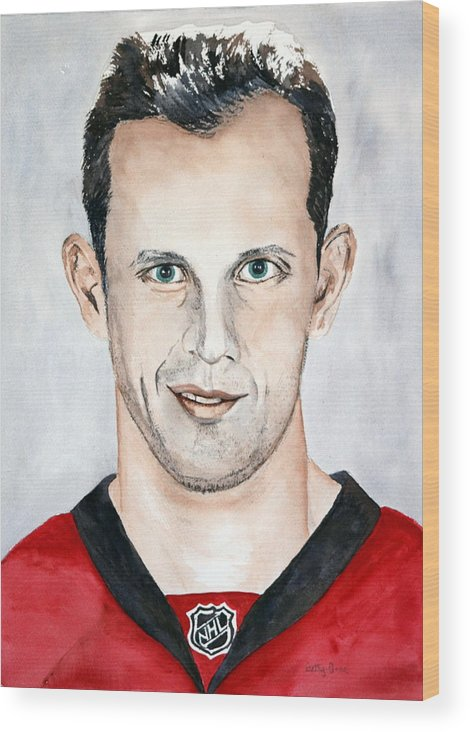 Nhl Wood Print featuring the painting Jason Spezza by Betty-Anne McDonald