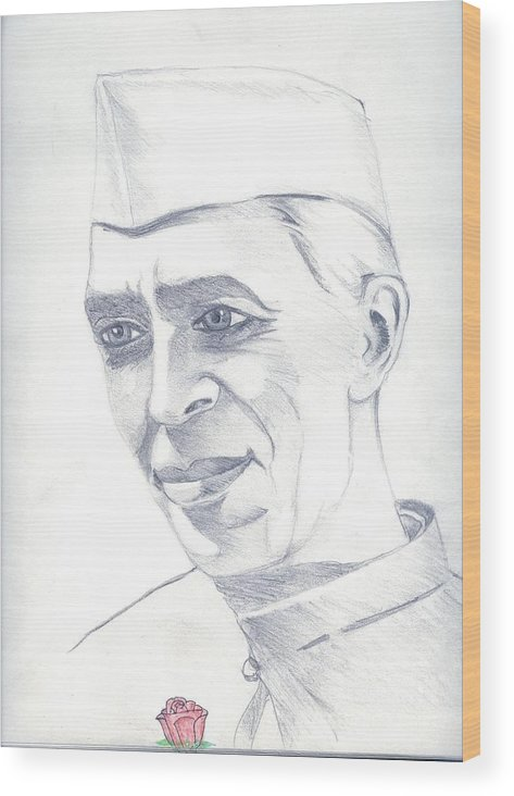 Jawaharl Lal Nehru Photos Wood Print featuring the painting Jawaharlal Nehru by Tanmay Singh