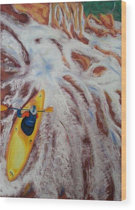 Kayak Wood Print featuring the pastel Kayak by Ianoty Art