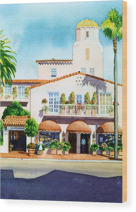 La Valencia Hotel Wood Print featuring the painting La Valencia Hotel by Mary Helmreich