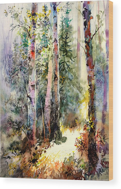 Landscape Wood Print featuring the painting Light In The Woods by Vladimir Zhikhartsev