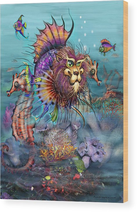 Lionfish Wood Print featuring the painting Lionfish by Kevin Middleton