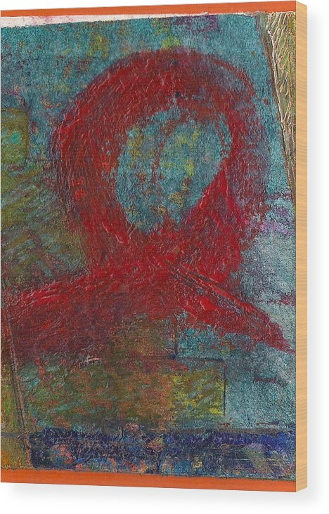 Abstract Wood Print featuring the painting Loop by James Raynor