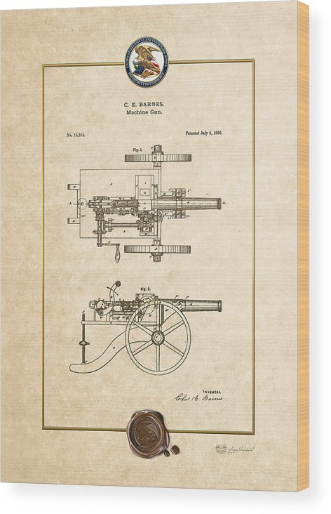 C7 Vintage Patents Weapons And Firearms Wood Print featuring the digital art Machine Gun - Automatic Cannon By C.e. Barnes - Vintage Patent Document by Serge Averbukh