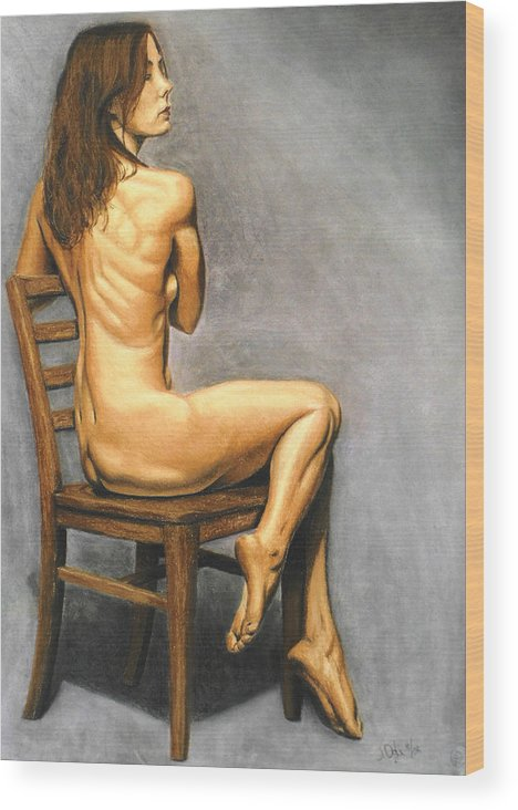 Joe Ogle Wood Print featuring the pastel Madame Brooke by Joseph Ogle