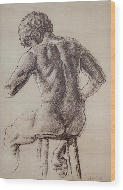 Figurative Wood Print featuring the drawing Man's Back by Sarah Parks