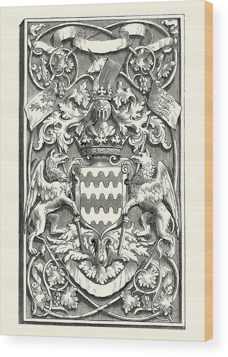 Medieval Coat Of Arms Design, Griffin Shield And Unicorn Wood Print