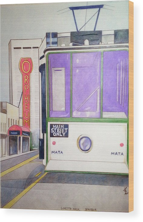 Landscape Wood Print featuring the drawing Memphis Trolley by Loretta Nash