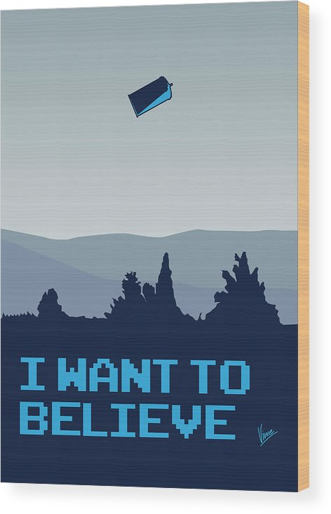 Classic Wood Print featuring the digital art My I Want To Believe Minimal Poster- Tardis by Chungkong Art