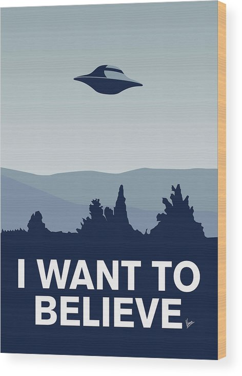 Classic Wood Print featuring the digital art My I Want To Believe Minimal Poster-xfiles by Chungkong Art