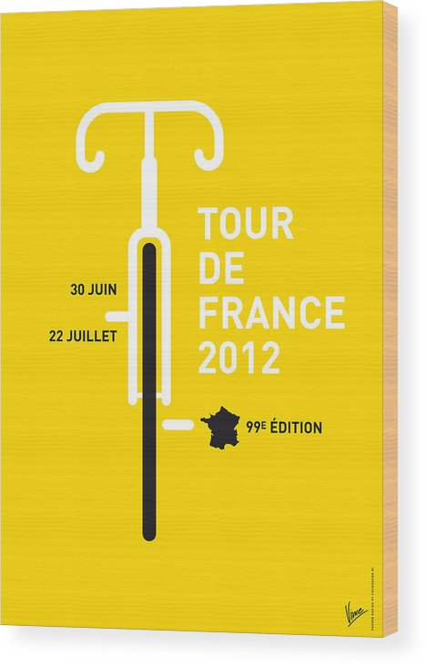 2012 Wood Print featuring the digital art My Tour De France 2012 Minimal Poster by Chungkong Art