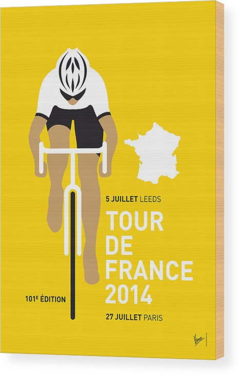 Minimal Wood Print featuring the digital art My Tour De France Minimal Poster 2014 by Chungkong Art