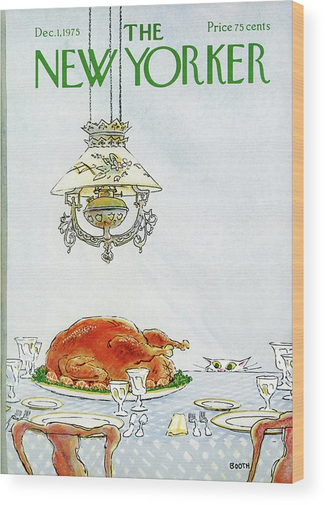 Turkey Wood Print featuring the painting New Yorker December 1st, 1975 by George Booth