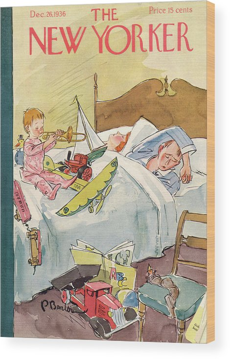 Christmas Xmas Holiday Season Seasonal Present Presents Morning Gift Gifts Toy Toys Sleeping Sleep Bedroom Plane Trumpet Truck Child Boy Little Son Perry Barlow Pba Bodin153 Artkey 48531 Wood Print featuring the painting New Yorker December 26th, 1936 by Perry Barlow