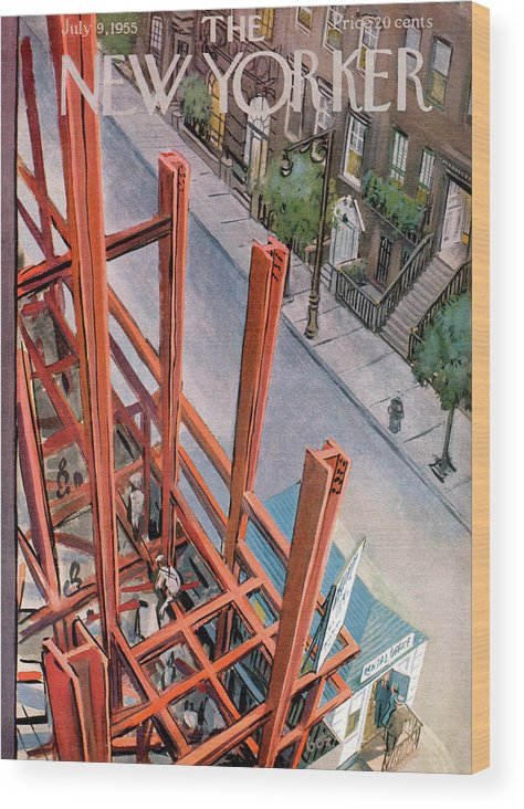 Urban Wood Print featuring the painting New Yorker July 9th, 1955 by Arthur Getz