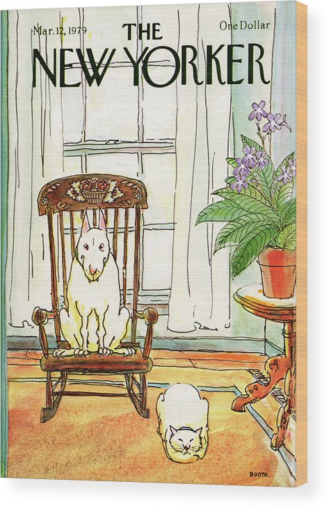 Animals Wood Print featuring the painting New Yorker March 12th, 1979 by George Booth