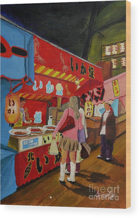 Japan Wood Print featuring the painting Night Festival by Anthony Dunphy