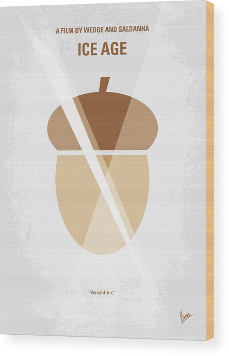 Ice Wood Print featuring the digital art No041 My Ice Age Minimal Movie Poster by Chungkong Art