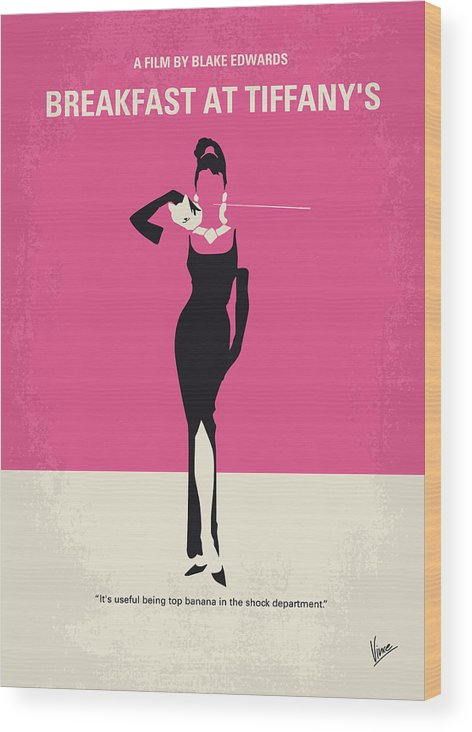Breakfast Wood Print featuring the digital art No204 My Breakfast At Tiffanys Minimal Movie Poster by Chungkong Art