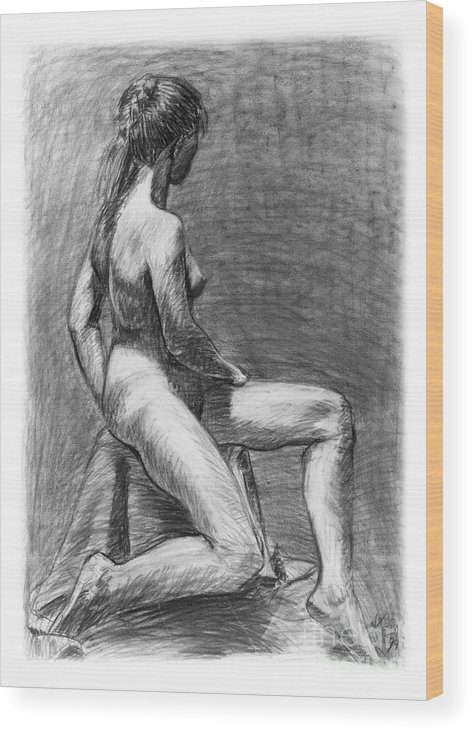 Adam Long Wood Print featuring the drawing Nude Female Figure Drawing by Adam Long
