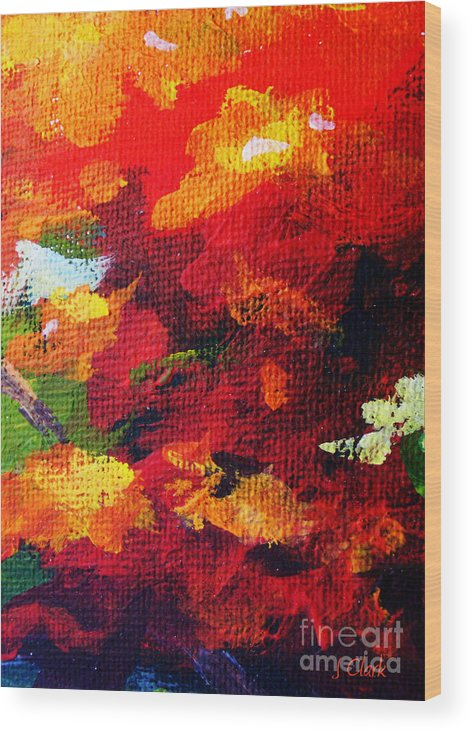 Abstract Wood Print featuring the painting Orange by John Clark