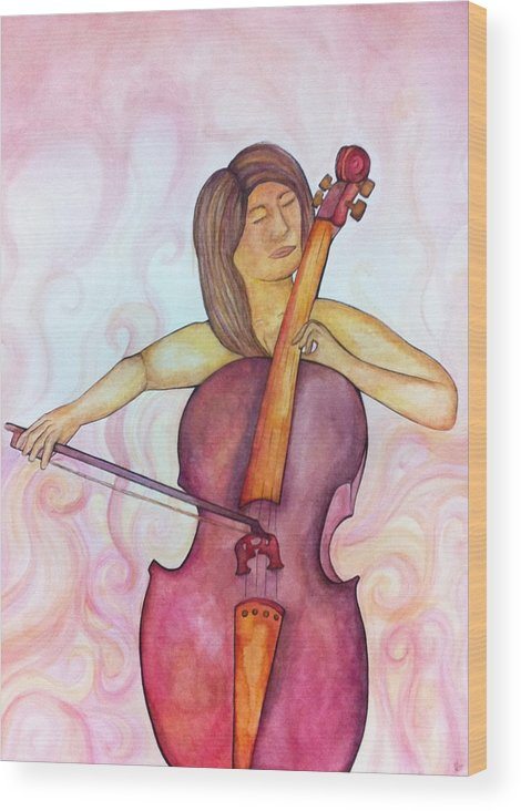 Cello Wood Print featuring the painting Passionate Cellist by Ashley Grebe
