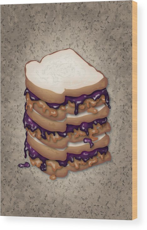 Pbj Wood Print featuring the digital art Peanut Butter And Jelly Sandwich by Ym Chin