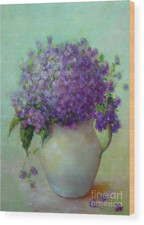 Floral Painting Wood Print featuring the painting Phlox     Copyrighted by Kathleen Hoekstra