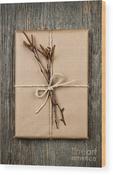 Package Wood Print featuring the photograph Plain Gift With Natural Decorations by Elena Elisseeva
