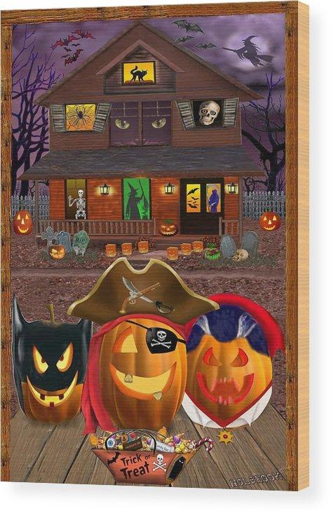 Pumpkin Wood Print featuring the digital art Pumpkin Masquerade by Glenn Holbrook