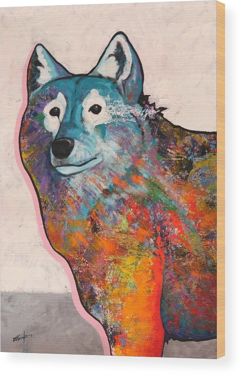 Animal Wood Print featuring the painting Rainbow Warrior - Alfa Wolf by Joe Triano