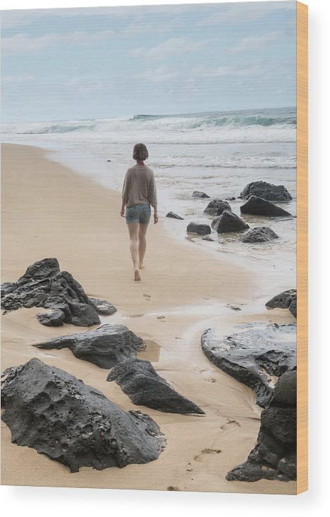 Wave Wood Print featuring the photograph Rear View Of Woman Walking On Beach by Brent Olson