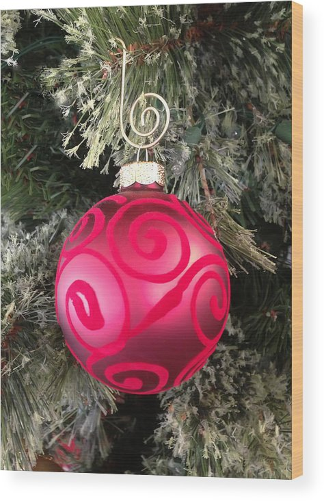 Christmas Wood Print featuring the photograph Red Christmas Ornament by Aimee L Maher ALM GALLERY
