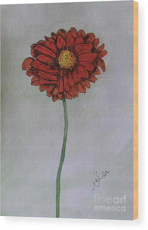 Daisy Wood Print featuring the painting Red Gerbera by Marcia Weller-Wenbert
