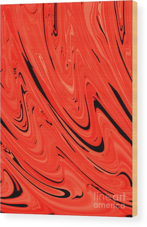 Red Wood Print featuring the digital art Red Hot Lava Flowing Down by Minding My Visions by Adri and Ray
