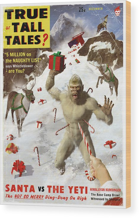 Pulp Wood Print featuring the painting Santa Vs The Yeti by Alex Tomlinson