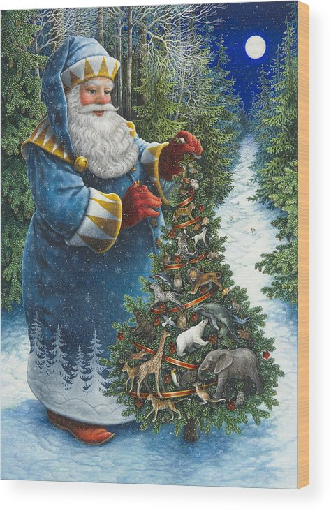 Santa Claus Wood Print featuring the painting Santa's Christmas Tree by Lynn Bywaters