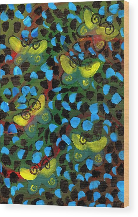 Yellow Wood Print featuring the painting Six Butterflys by Mrs Wilkes Art