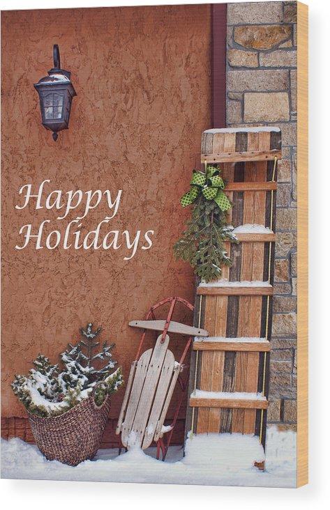 Christmas Wood Print featuring the photograph Sled And Tobbogan by Nikolyn McDonald