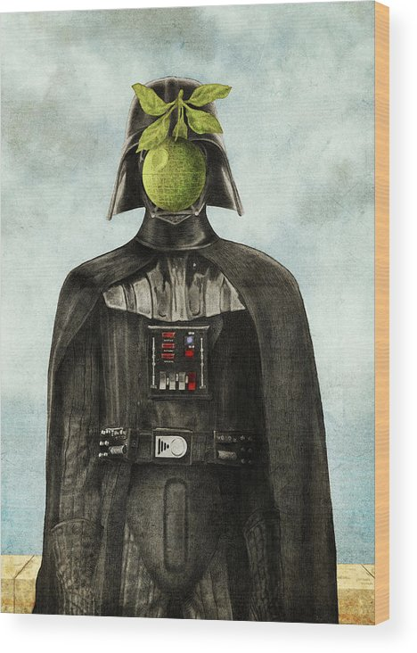 Magritte Wood Print featuring the drawing Son Of Darkness by Eric Fan