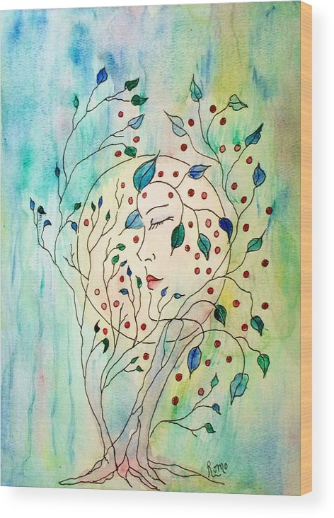 Watercolor Painting Wood Print featuring the painting Spirit Of The Forest by Robin Monroe