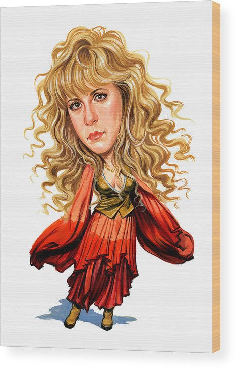 Stevie Nicks Wood Print featuring the painting Stevie Nicks by Art