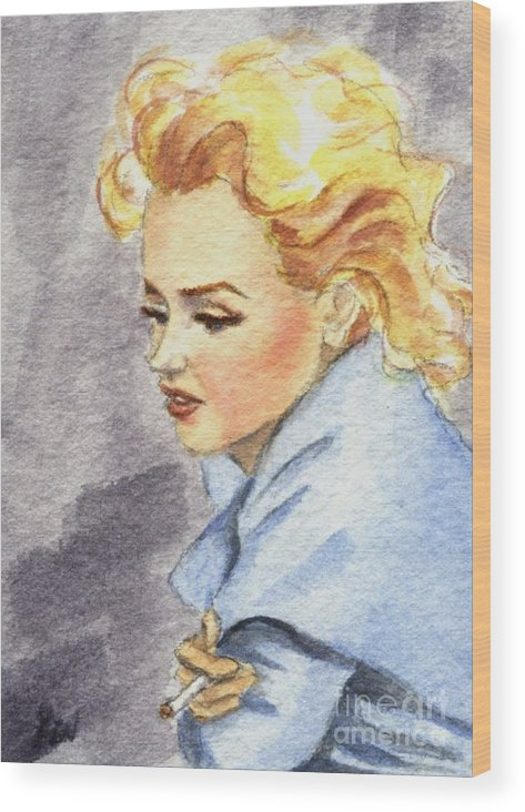 Watercolor Wood Print featuring the painting study of Marilyn Monroe by Jingfen Hwu