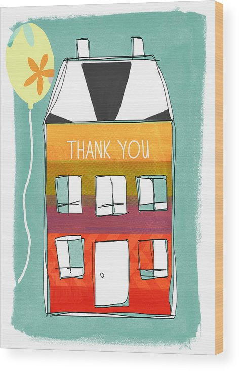Card Wood Print featuring the painting Thank You Card by Linda Woods