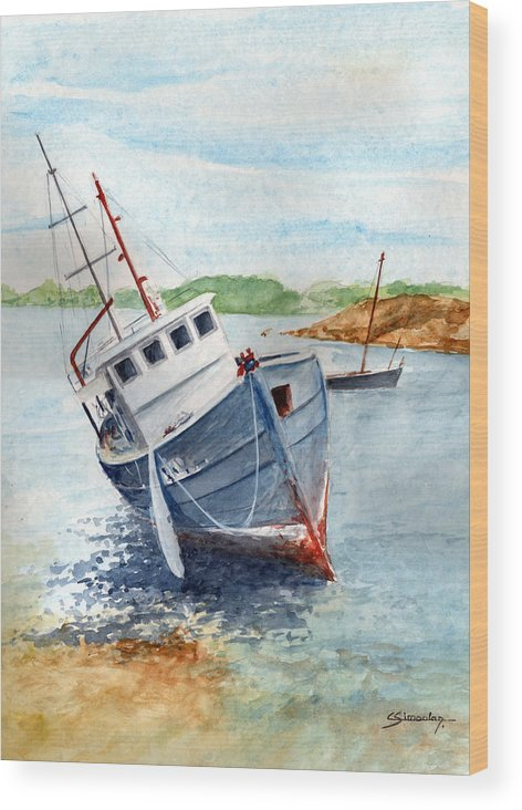 Wreck Wood Print featuring the painting The Wreck by Christian Simonian